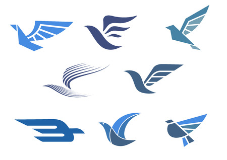 birds: Delivery and shipping symbols with abstract stylized flying bird isolated on white, for fast delivering concept design Illustration