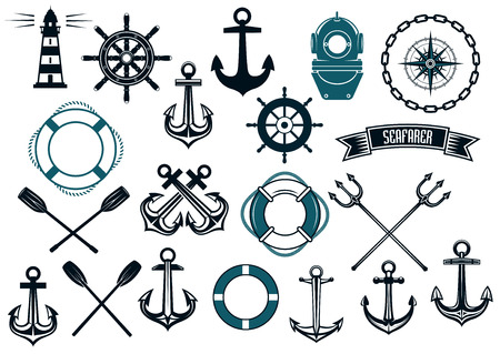 Nautical themed design elements with lighthouse, rope, anchor, paddle, life buoy, trident, steering wheel and diving helmet Vectores