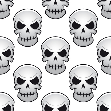 Seamless pattern of scary halloween human skulls for Halloween design  Vector