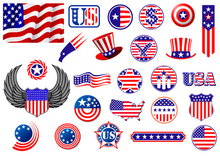 American patriotic badges, symbols and labels decorated with the stars and stripes showing a flag, eagle, map, shield, wings, banner, star and variety of round designs