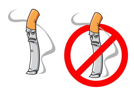 Cartoon unhappy cigarette  character with smoke and no smoking sign