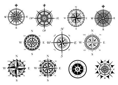 rosa de los vientos: Viento de la vendimia náutico o marina levantó y brújula iconos fijó, para el recorrido, diseño de navegación Vectores