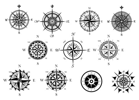 compass rose: Vintage nautical or marine wind rose and compass icons set, for travel, navigation design