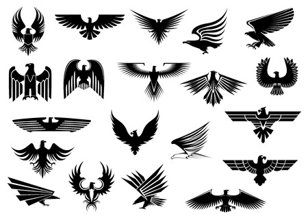 Heraldic black eagles, falcons and hawks set spread wings, isolated on white background Ilustração