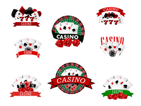 tokens: Casino and gambling badges or emblems each with word  Casino decorated with a hand of aces playing cards, dice, roulette board, casino chips or tokens and lucky number 777 Illustration