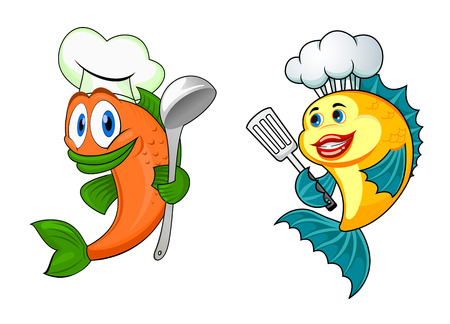 colorful fish: Cartoon happy fish characters with chef toque, spoon ans spatula