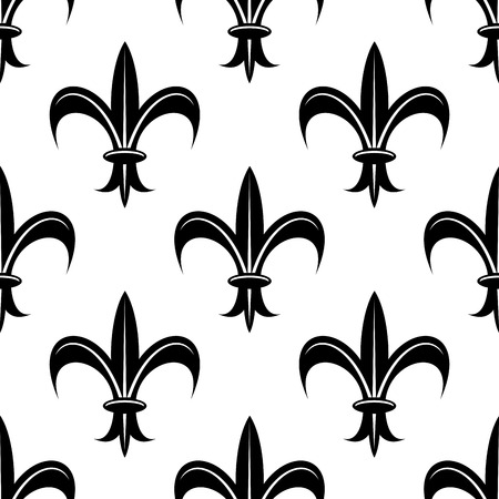 Seamless retro floral fleur-de-lis royal black lily pattern, isolated  on white colored backdrop. For wallpaper, tiles and fabric design