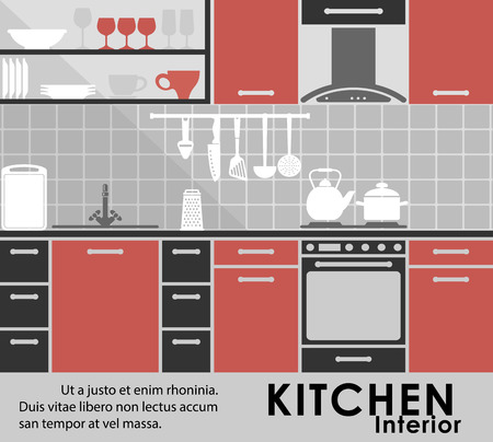 Modern kitchen interior in flat style showing a modern kitchen with fitted appliances and cabinets, assorted utensils, kitchenware on the counter and on shelves with copyspace Vector