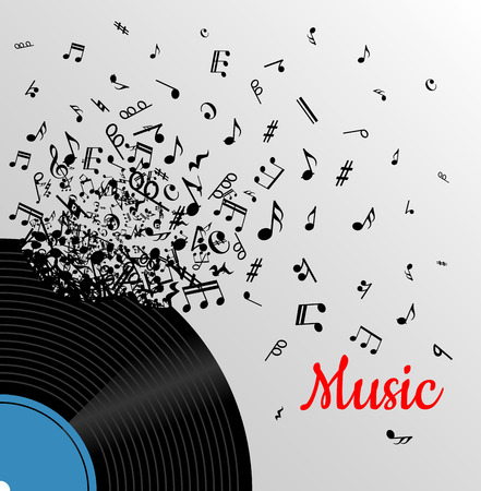 Retro music vintage poster with vinyl disc and explosion of musical notes for media and entertainment design Illustration