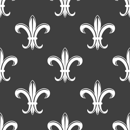 scroll tracery: Seamless tracery floral fleur-de-lis royal white lily pattern on grey colored background. For wallpaper, tiles and fabric design Illustration