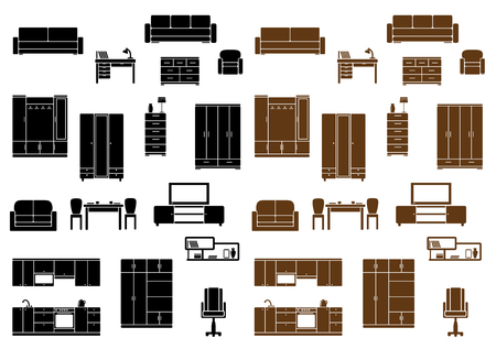 Furniture flat icons set isolated on background for home, office and kitchen interiors Vector