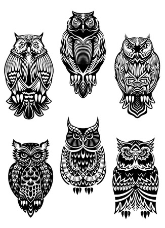 Isolated owl birds in tribal style for mascot, tattoo or wildlife concept Ilustração