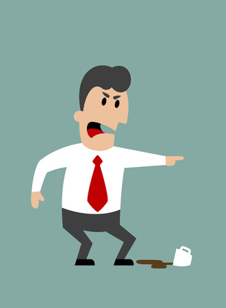 Angry boss or businessman yelling and pointing with spilled cup of coffee at feet. Flat design Vector