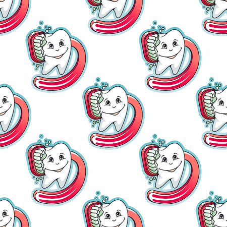 oral hygiene: Cartoon tooth and brush seamless pattern for medicine, healthcare, teeth cleaning and dentistry