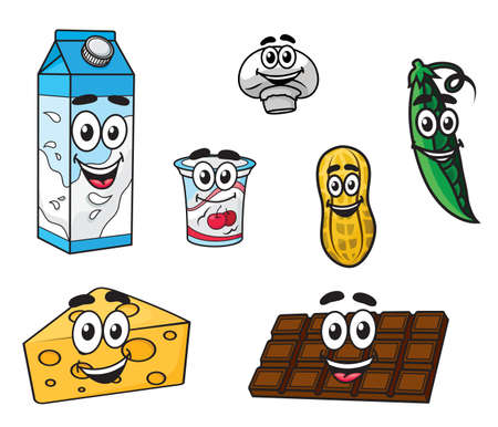 cheese cartoon: Set of colorful cartoon food characters with a carton of milk, chocolate, cheese, yoghurt, pea, mushroom and peanut Illustration