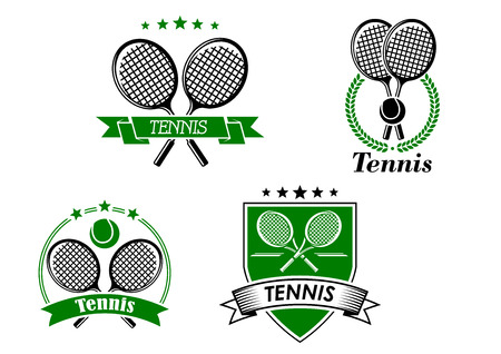 Four different tennis badges with crossed rackets with ribbon banner, laurel wreath, curved banner and circular frame and a shield and banner, each with text Tennis Vector