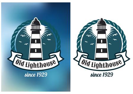 灯台、ロープおよび輸送の紋章やロゴのデザイン用のテキスト バナーと海洋の紋章