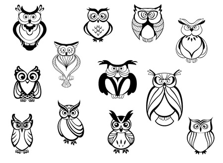 Cute owls and owlets set isolated on white background in cartoon style, for tattoo, wildlife and mascot design