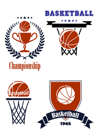 Basketball heraldry sporting symbols or logos with laurel wreath,trophy, ball and banners for sport team and leisure design Vector