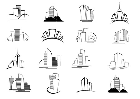 building blocks business: Set of stylized outline building and architectural icons of skyscrapers, high-rise commercial blocks and cityscapes in black and white Illustration