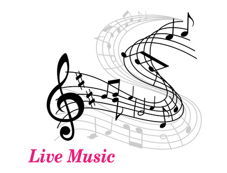 popular music: Live Music poster template with a clef, staff and music notes curling into the distance and text Live Music in pink with copyspace