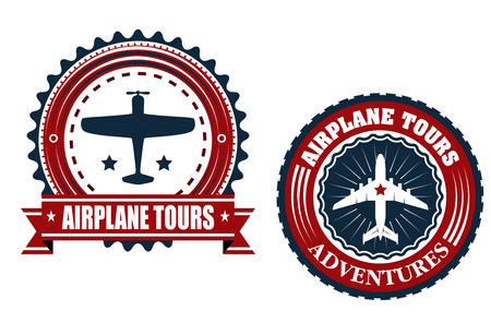airplane ticket: Airplane tours badges or emblems with the silhouette of a plane inside a circular frame with text  Airplane Tours  one in a banner and one with additional Adventures for travel design