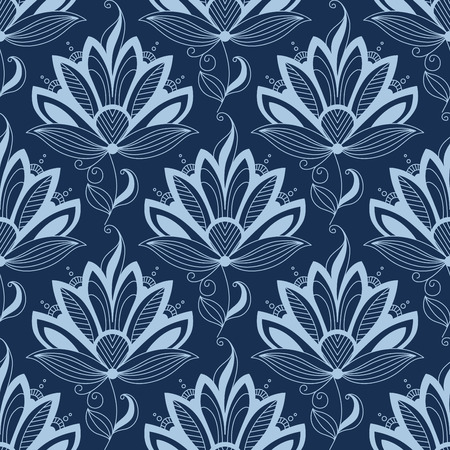 light brown background: Blue floral seamless pattern in paisley indian or persian style, on dark blue colored background. Suitable for wallpaper and textile design