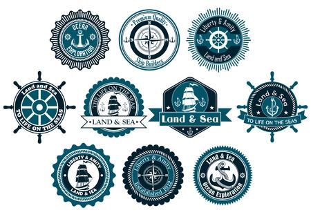 marinha: C�rculo marinhos r�tulos her�ldicos com �ncoras, compasso, veleiro e cordas para o projeto n�utico e logotipo Ilustra��o