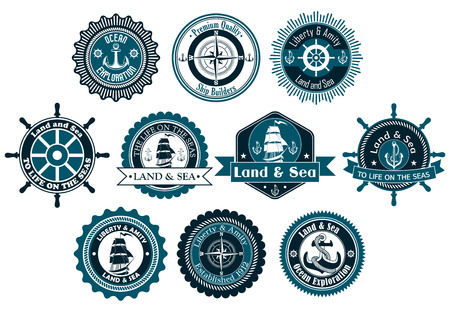 marines: Circle marine heraldic labels with anchors, compass, sailboat and ropes for nautical and logo design