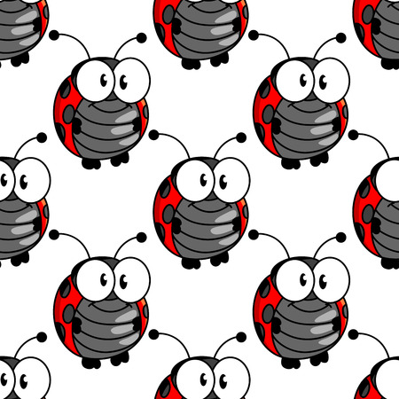 upright format: Ladybug seamless background pattern with a cute little red and black spotted ladybird standing upright with big googly eyes, cartoon illustration in square format
