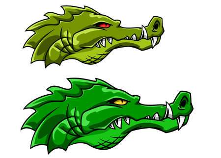 Aggressive green crocodile or alligator mascot in cartoon style for tattoo or sports design Vector