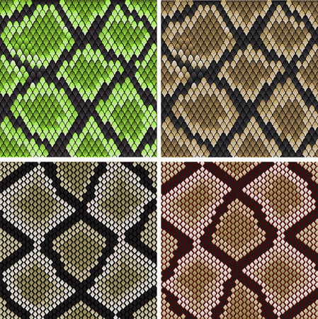 snake skin pattern: Seamless background of green and grey snake skin patterns for fashion and wildlife design