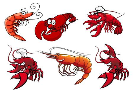 Cartoon rode garnalen, krab en kreeft personages met lachende gezichten en googly ogen geïsoleerd op wit voor vis of een ander ontwerp
