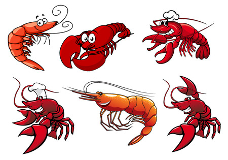 cangrejo caricatura: Gamba roja de dibujos animados, personajes de cangrejo y langosta con caras sonrientes y ojos saltones aislados en blanco para mariscos o otro diseño Vectores