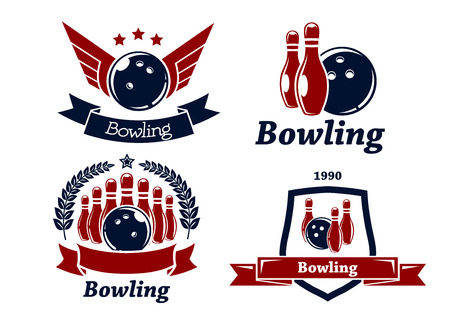 Bowling themed emblems and icons in red and navy blue with ball, ninepins, laurel wreath, wings, ribbons and text for leisure or sports design Vector