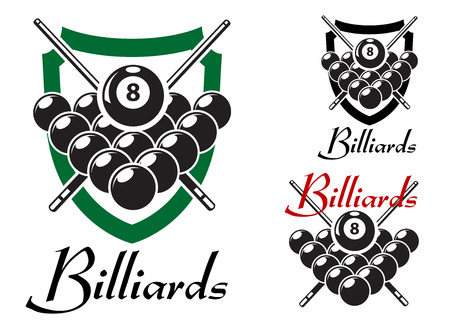 cues: Set of billiards labels or emblems with crossed cues over racked balls for an 8 ball game, two in shields with the text Billiards, isolated on white Illustration