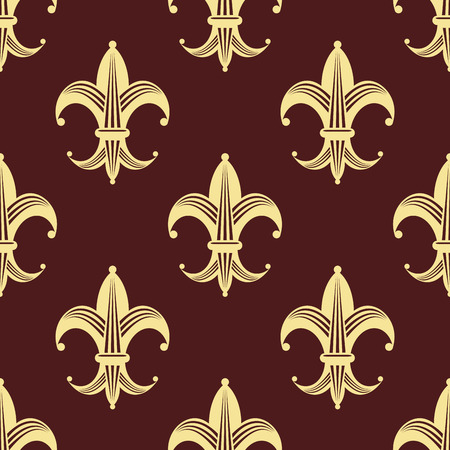 Seamless floral fleur-de-lis royal yellow and gold lily pattern, isolated  on dark red  colored background. For wallpaper, tiles and fabric design Vector