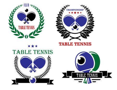 Table tennis heraldry emblems and symbols with rackets and ball for sporting championship design Vector