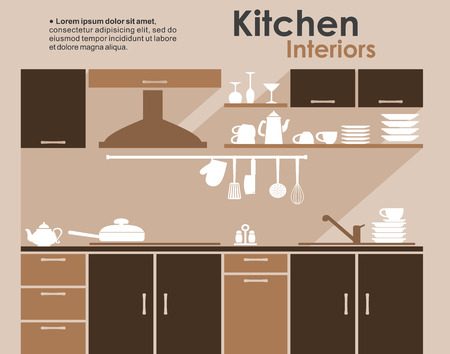 kitchen cabinet: Kitchen interiors flat design in shades of brown with built in cabinets and appliances with kitchenware and crockery on shelves