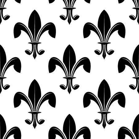 lys: Black and white seamless classic fleur de lys pattern suitable as a heraldry background or for wallpaper or fabric, square format