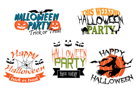 Halloween icons three for a Halloween Party and two with a Happy Halloween greeting decorated with black cats, pumpkins, witch, bats, jack-o-lanterns and ghosts Vector