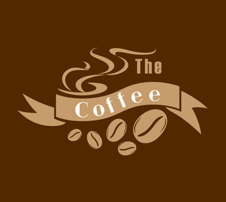 Coffee emblem or label in brown and white with a ribbon banner saying Coffee with twirling steam and coffee beans below Vector