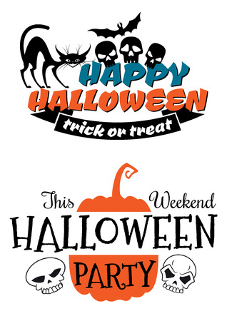 Halloween party banner and poster with pumpkin, flying bat, black cat, skull and trick or treat signs in cartoon doodle style