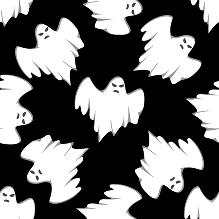 black shadow: Seamless pattern of cartoon spooky ghost, isolated on black background. For Halloween design