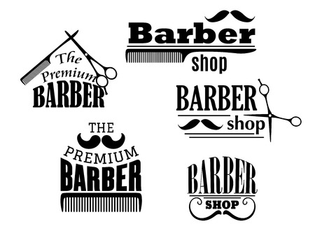 barber scissors: Black retro barber shop icons, emblems or logos with moustache, combs and scissors for service industry design