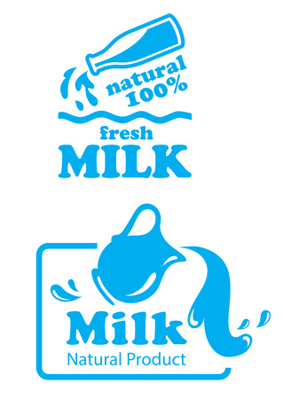 Natural Milk labels or badges in a pretty fresh blue and white with milk pouring from a bottle in the first and pouring from a jug in the second with text