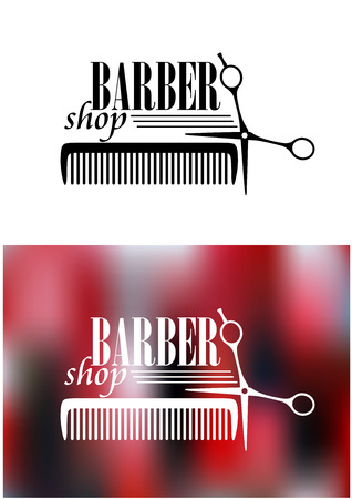 Retro barber shop icon with comb and scissors for service industry design Illustration