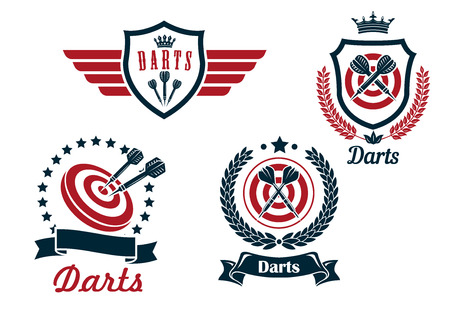 darts: Darts heraldry emblems with arrows and dartboards, isolated on white for sporting logo design Illustration