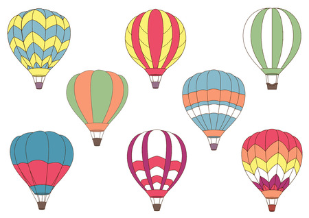 Flying cartoon colorful hot air balloons for journey, air adventure and tourism design with different patterns on the envelope