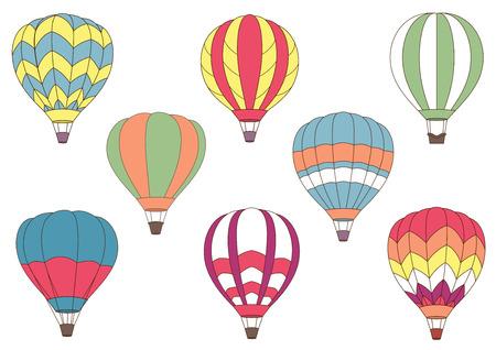 Vliegende cartoon kleurrijke heteluchtballonnen voor reis, lucht avontuur en toerisme ontwerp met verschillende patronen op de envelop